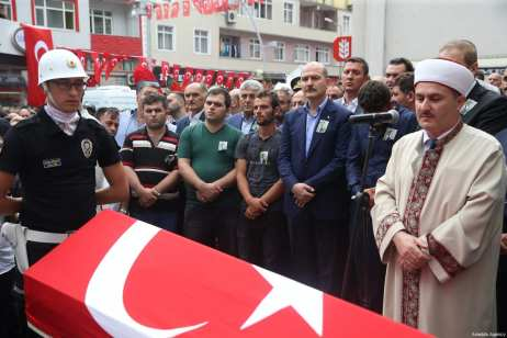 Turkish Interior Minister Suleyman Soylu attends the funeral of 15-year-old Eren Bulbul, killed by PKK militant, in Macka Province of Trabzon, Turkey on August 12, 2017 [Hakan Burak Altunöz / Anadolu Agency]