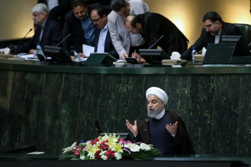 President of Iran, Hassan Rouhani delivers a speech during a vote of confidence session held for 12th term ministers at the Iranian parliament in Tehran, Iran on 15 August, 2017 [Fatemeh Bahrami/Anadolu Agency]