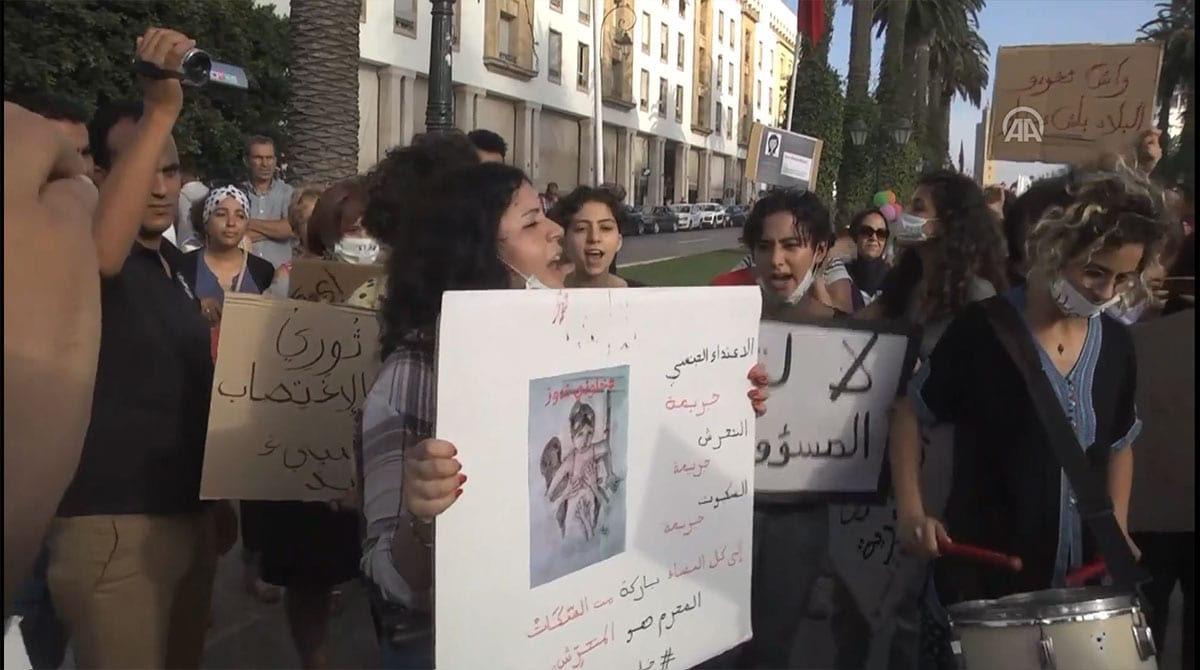 Moroccans gather to protest in Casablanca for reforms after a girl was violently molested on a bus in Morocco. [Screenshot: Anadolu Agency]