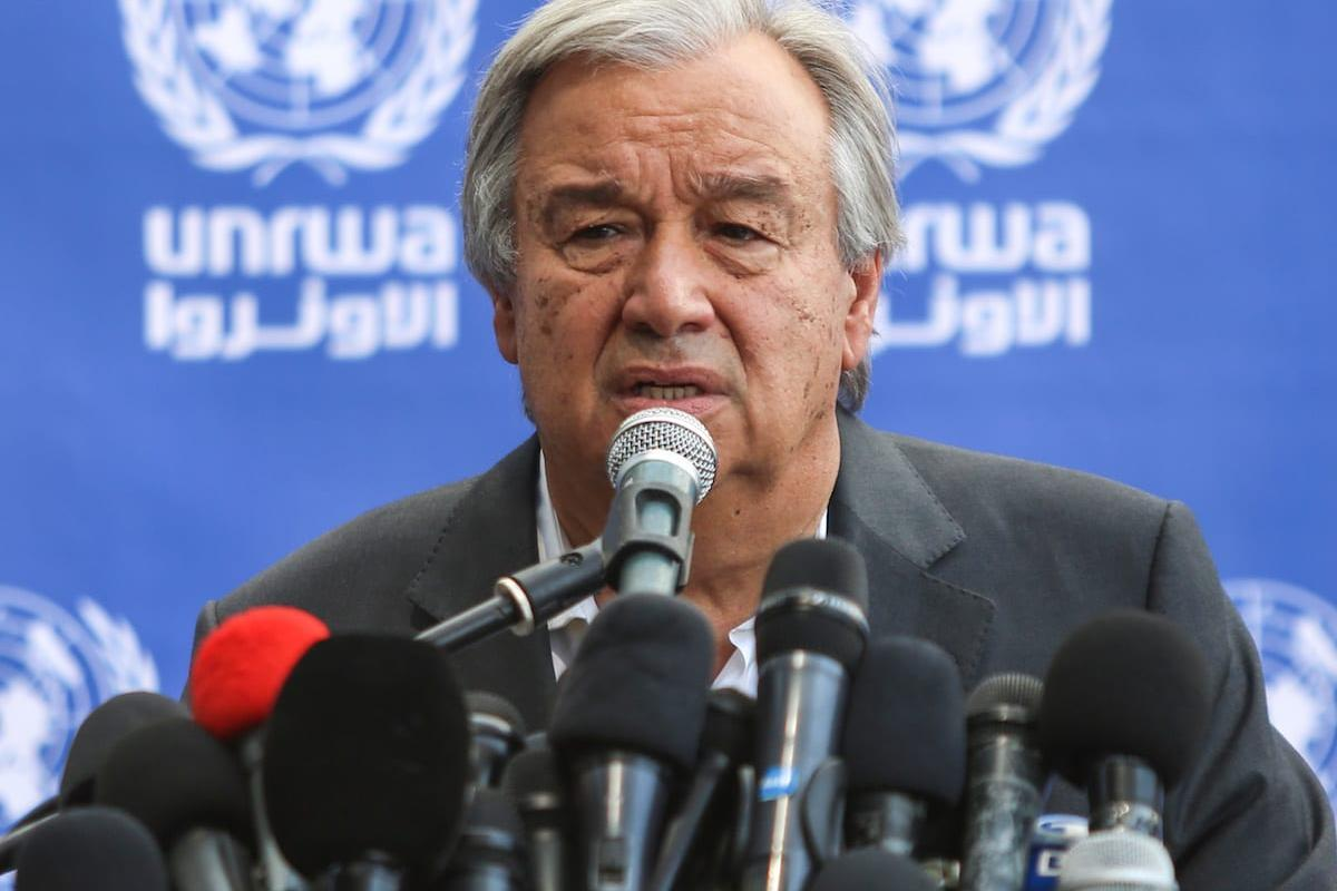 United Nations Secretary General Antonio Guterres in Gaza [Ali Jadallah/Anadolu Agency]