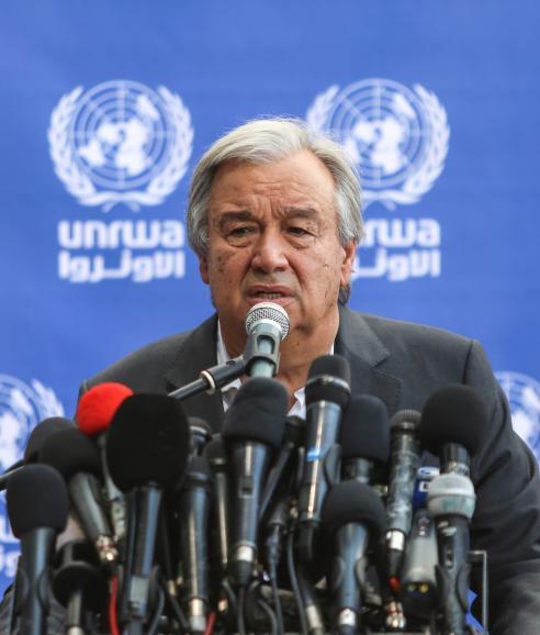 United Nations Secretary General Antonio Guterres in Gaza [Ali Jadallah/Anadolu Agency]