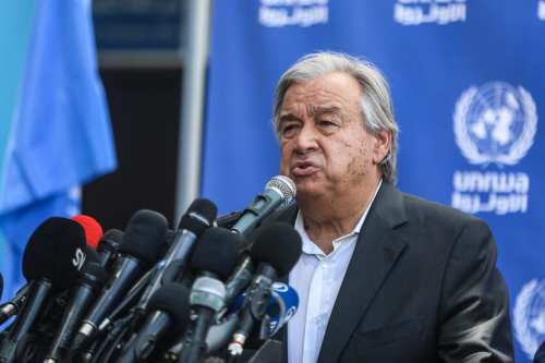 United Nations Secretary General Antonio Guterres talks at a press conference in Beit Lahia, Gaza on 30 August 2017 [Ali Jadallah/Anadolu Agency]