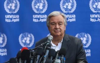 United Nations Secretary General Antonio Guterres talks at a press conference at the Aleppo Elementary school run by UNRWA in Beit Lahia, Gaza on 30 August 2017 [Ali Jadallah/Anadolu Agency]