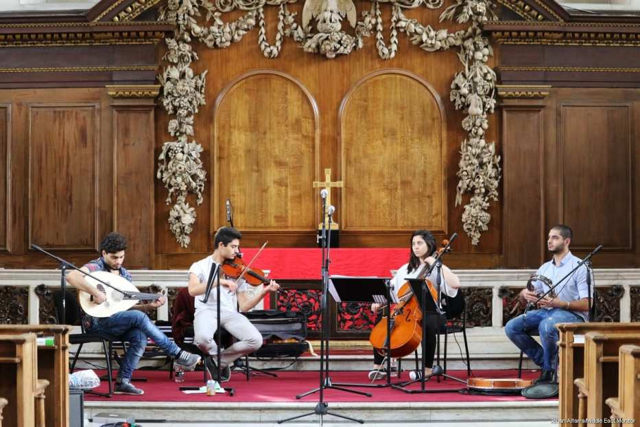 The Galilee Quartet rehearsing ahead of a concert at St. James' in London [Jehan Alfarra/Middle East Monitor]