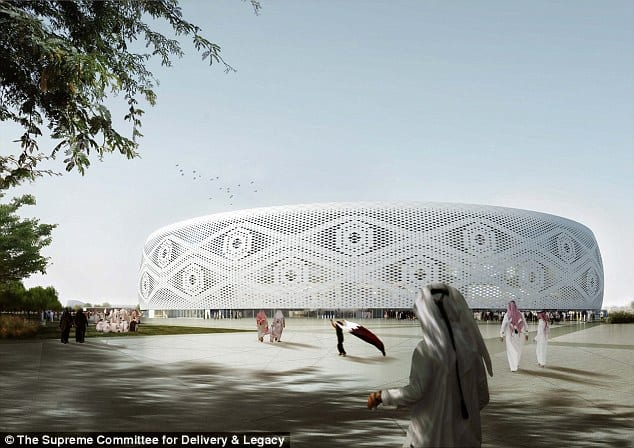 """A digital rendition of Doha's Al Thumama stadium, designed by a Qatari architect in the shape of a traditional knitted """"gahfiya"""" Arabian cap, will host the World Cup quarter final match in 2022"""