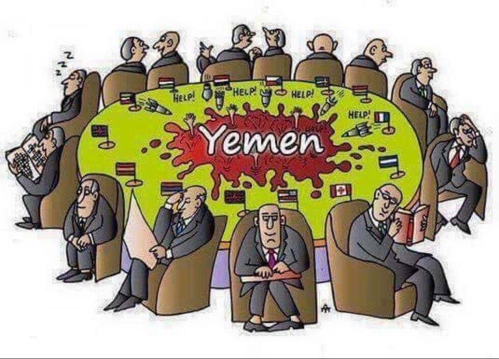 Nobody cares about Yemen [Yemen Post Newspaper Cartoon/Twitter]