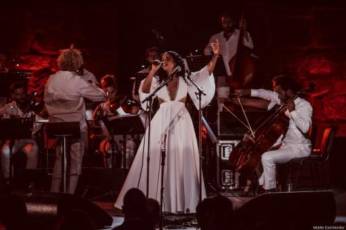 Tunisian singer, Emel Mathlouthi, performing at the 53rd Carthage Festival