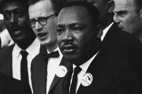 Dr Martin Luther King Jr. seen during the 'March on Washington' on August 28, 1963 [Rowland Scherman / US National Archives]