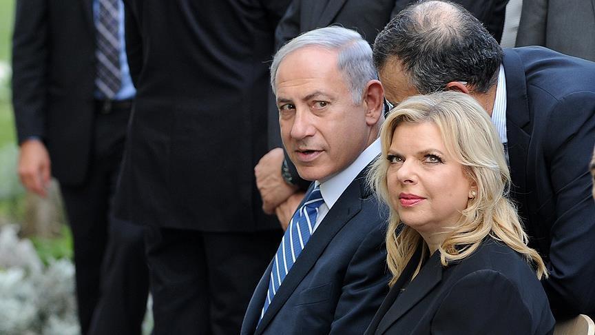 Israeli prime minister Benjamin Netanyahu seen with his wife Sara Netanyahu