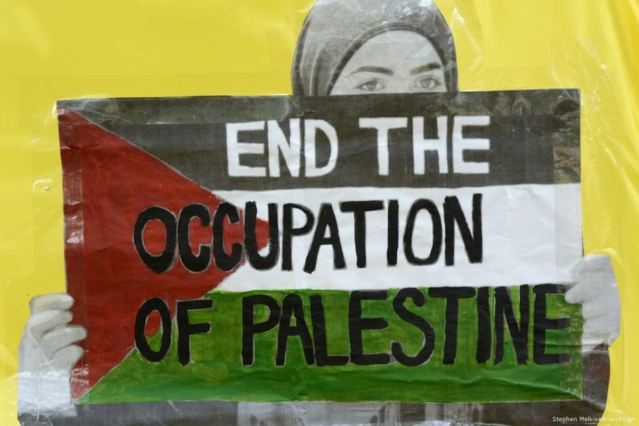 A protester holds a placard reading 'End the occupation of Palestine' during a BDS rally