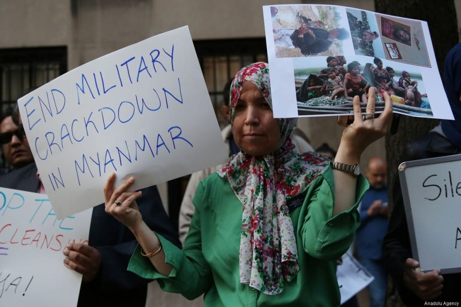 Activists stage a rally denouncing the ongoing military operations in Myanmar's Rakhine state next to Myanmar Permanent Mission to the United Nations in New York, United States on September 7, 2017. ( Mohammed Elshamy - Anadolu Agency )