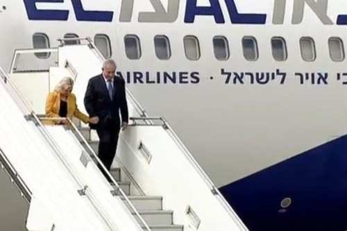 Israel's Prime Minister Benjamin Netanyahu and his wife Sara arrive in Buenos Aires, Argentina, on 11 September, 2017 [Twitter]
