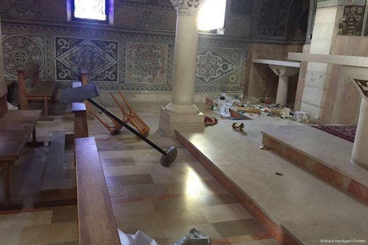 St. Stephen Church in occupied Jerusalem was vandalised on 21 September 2017 [Richard Hardigan‏/Twitter]