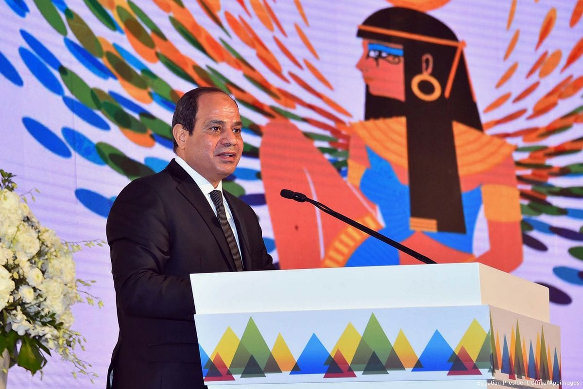 Egyptian President Abdel Fattah al-Sisi attends the 9th Annual Conference of the International Alliance for Financial Inclusion, in Cairo, Egypt, on 14 September 2017 [Egyptian President Office/Apaimahes]