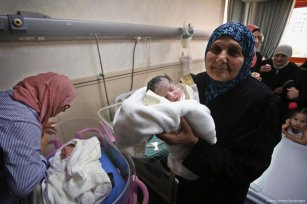 Palestinian prisoner Qasim Al-Akeleek has twins after his sperm is smuggled out of prison [Ayman Ameen/Apaimages]