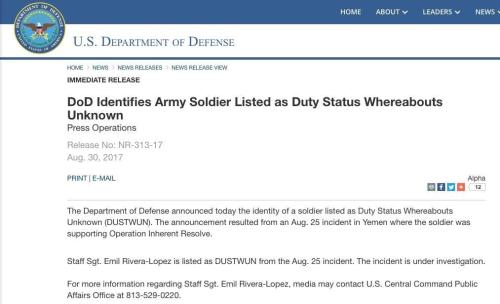 US Department of Defence (DoD) press release published on August 30, 2017, but promptly removed thereafter