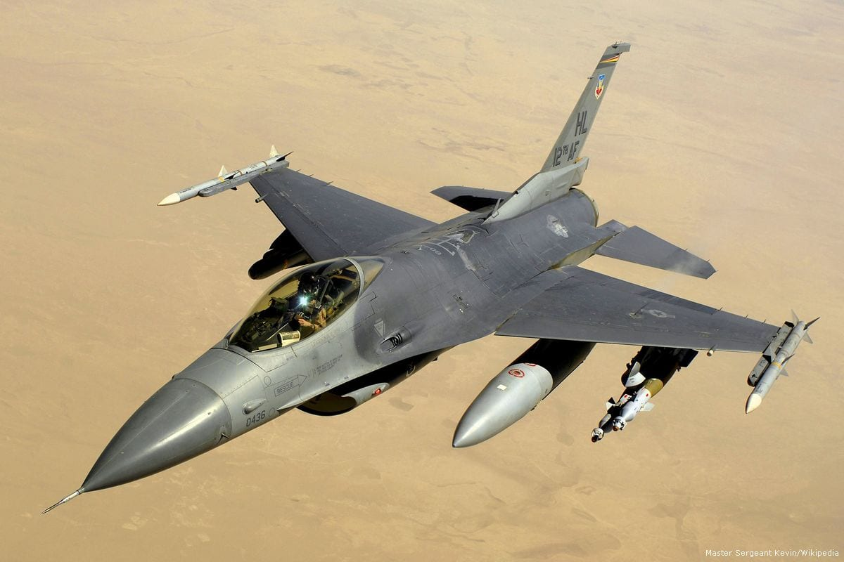 A F-16 of the Israeli air force seen on June 16, 2008 during a training excercise [Master Sgt. Andy Dunaway /Wikipedia]