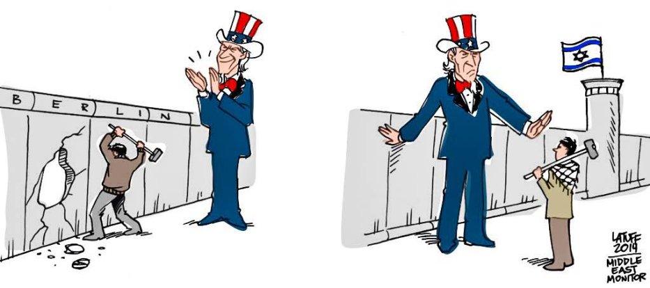 Berlin Wall vs Apartheid Wall - Cartoon [Latuff/MiddleEastMonitor]
