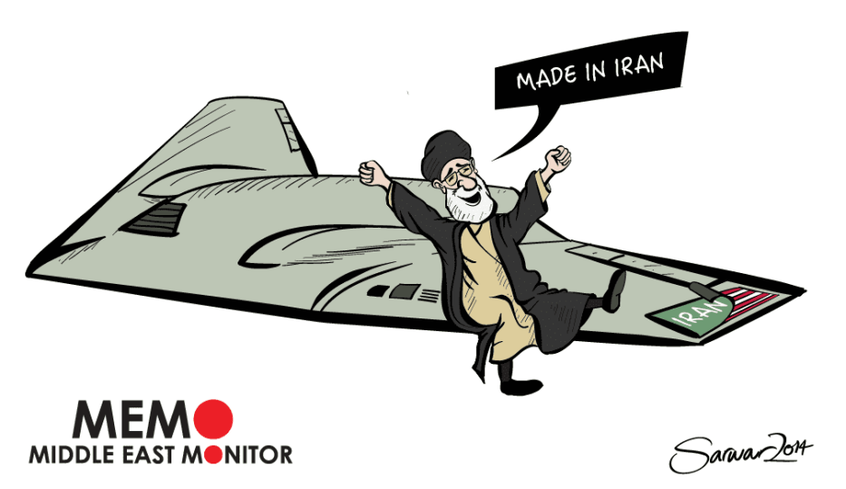 Iran copies US drone - Cartoon [Sarwar Ahmed/MiddleEastMonitor]