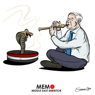 Sisi and Netanyahu - Cartoon [Sarwar Ahmed/MiddleEastMonitor]