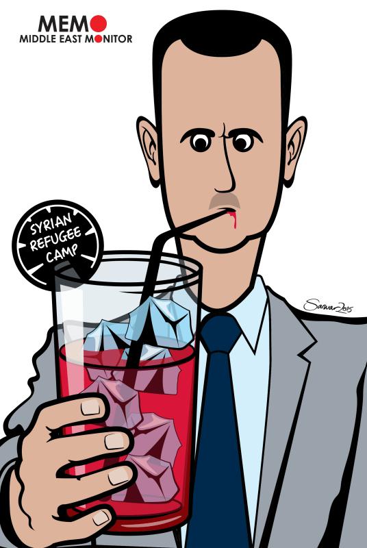 Syrian refugees and Assad - Cartoon [Sarwar Ahmed/MiddleEastMonitor]