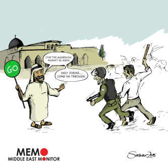 Aggression against Al-Aqsa - Cartoon [Sarwar Ahmed/MiddleEastMonitor]