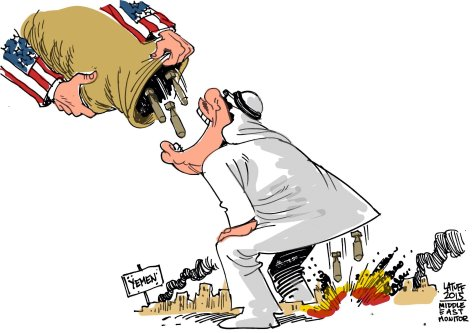 US giving weapons to Saudi to bomb Yemen - Cartoon [Latuff/MiddleEastMonitor]
