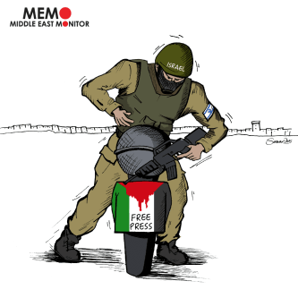 Israeli Attacks on Press - Cartoon [Sarwar Ahmed/MiddleEastMonitor]