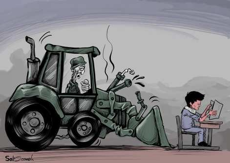 Israel demolishing Palestinian schools - Cartoon [Sabaaneh/MiddleEastMonitor]