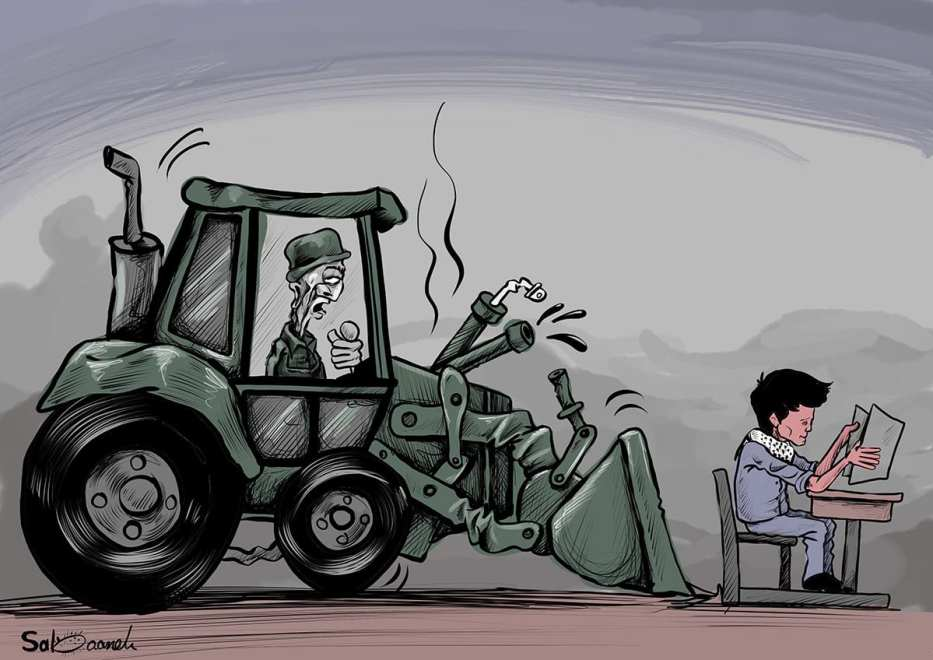 Israel demolishing Palestinian schools - Cartoon [Sabaaneh/MiddleEastMonitor]