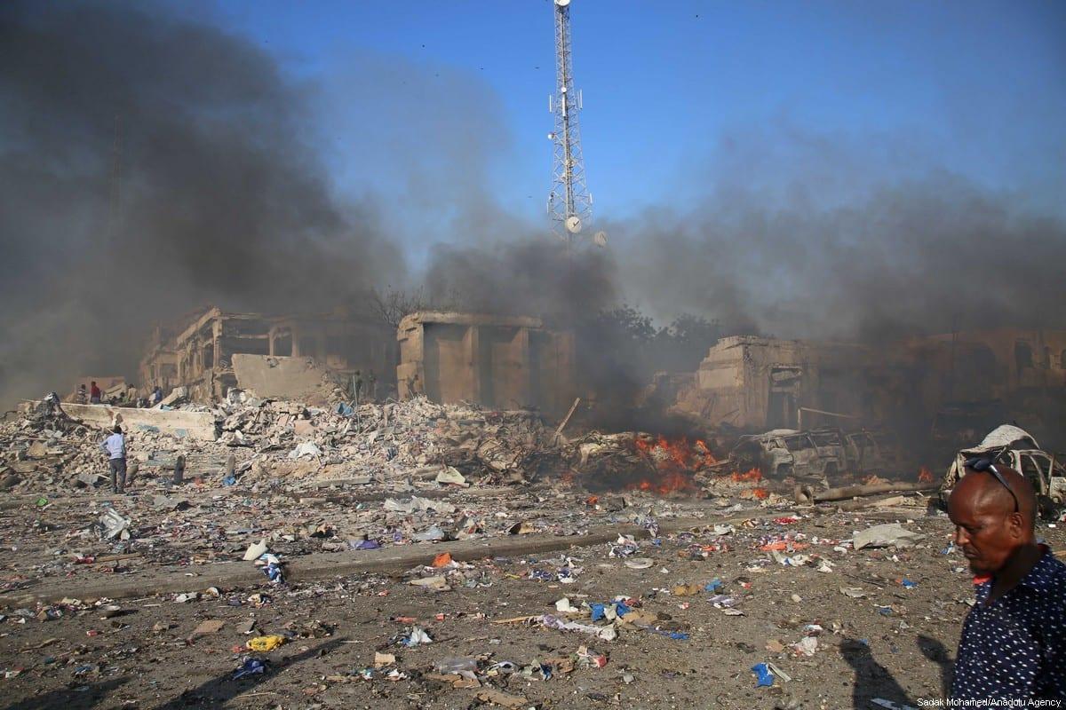 Scene of a massive explosion is seen in the capital Mogadishu, Somalia on 14 October, 2017 [Sadak Mohamed/Anadolu Agency]