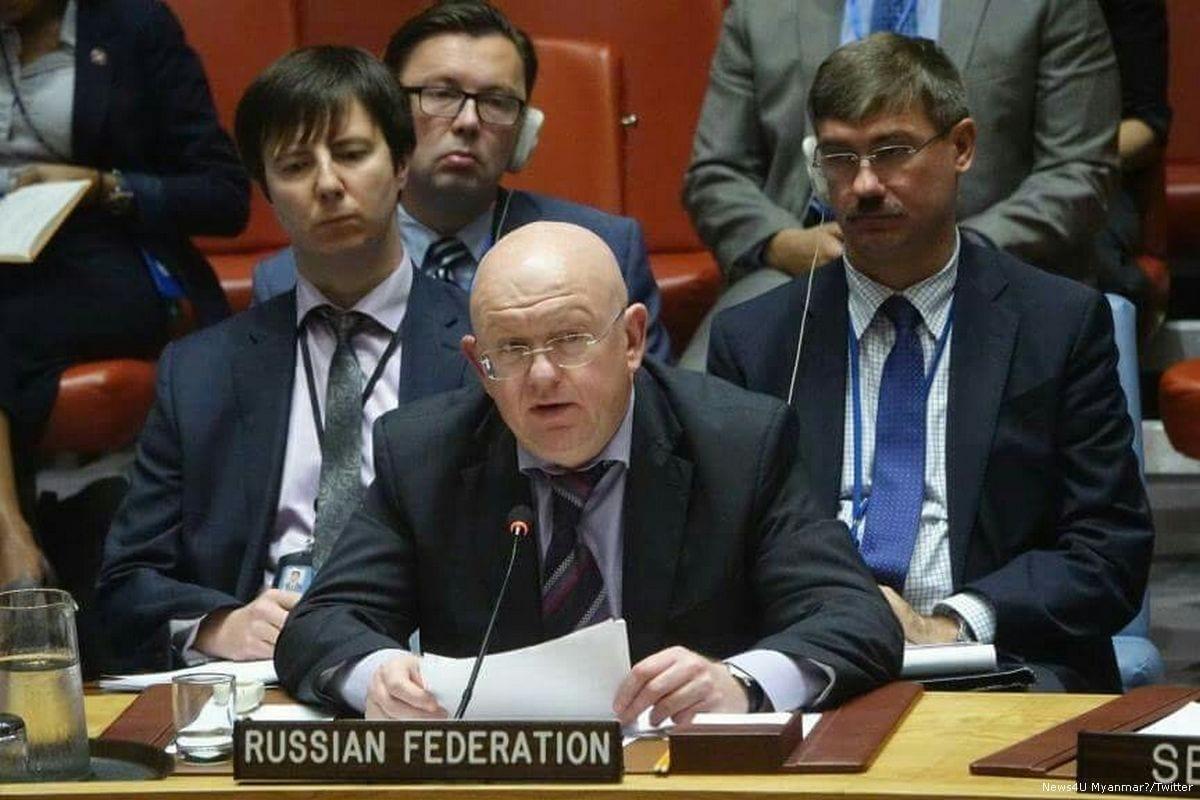 Russia's Ambassador to the UN Vassily Nebenzia [News4U Myanmar/Twitter]