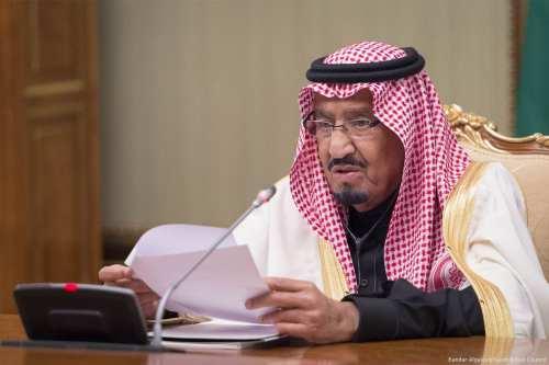 King Salman bin Abdulaziz Al Saud of Saudi Arabia speaks during a meeting with Russian Prime Minister Dmitriy Medvedev in Moscow, Russia on 6 October 2017 [Bandar Algaloud/Saudi Royal Council/Handout/Anadolu Agency]