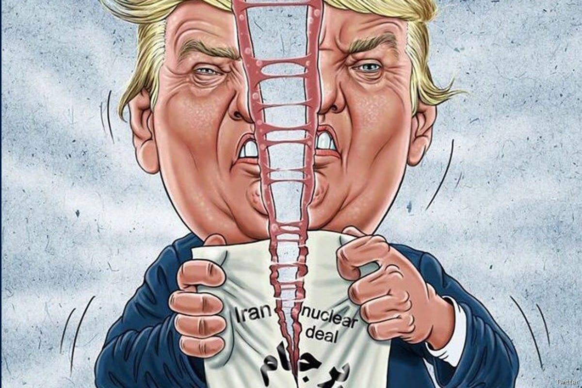 Cartoon of President Trump ripping Iran's Nuclear deal [Twitter]