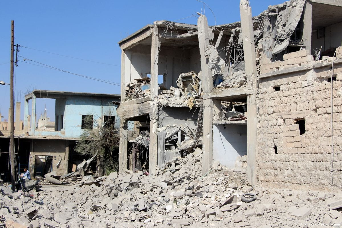 Damaged buildings are seen after the Assad regime carried out airstrikes in Idlib, Syria on 6 October 2017 [Enes Diyab/Anadolu Agency]