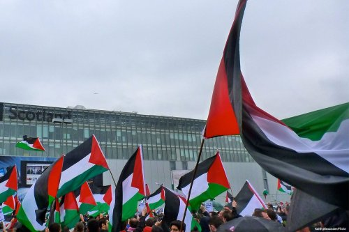 Activists come together to protest against the crisis in Gaza in Scotland, UK [Keith Alexander/Flickr]