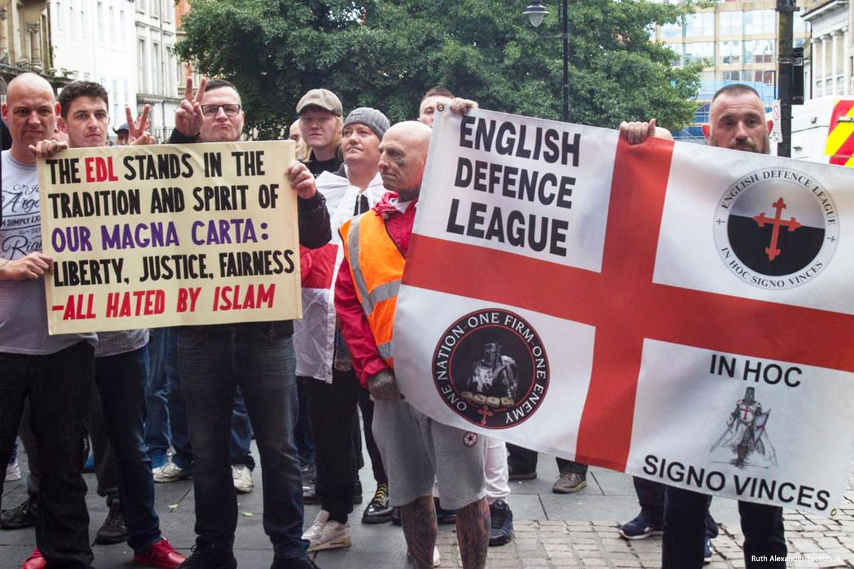 Supporters of the English Defence League protest (EDL) come together in a demonstration [Ruth Alexander/Facebook]