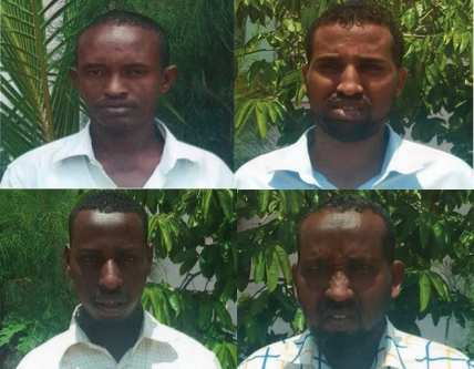 Four of the men suspected of being behind the Mogadishu truck bombing that killed some 350 people on 14 October 2017. [Somali Press Online]
