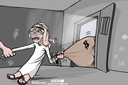 Saudi billionaire Prince Al-Waleed detained in corruption inquiry - Cartoon [Sabaaneh/MiddleEastMonitor]