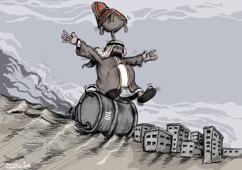 Saudi Arabia slips into destruction - Cartoon [Sabaaneh/MiddleEastMonitor]