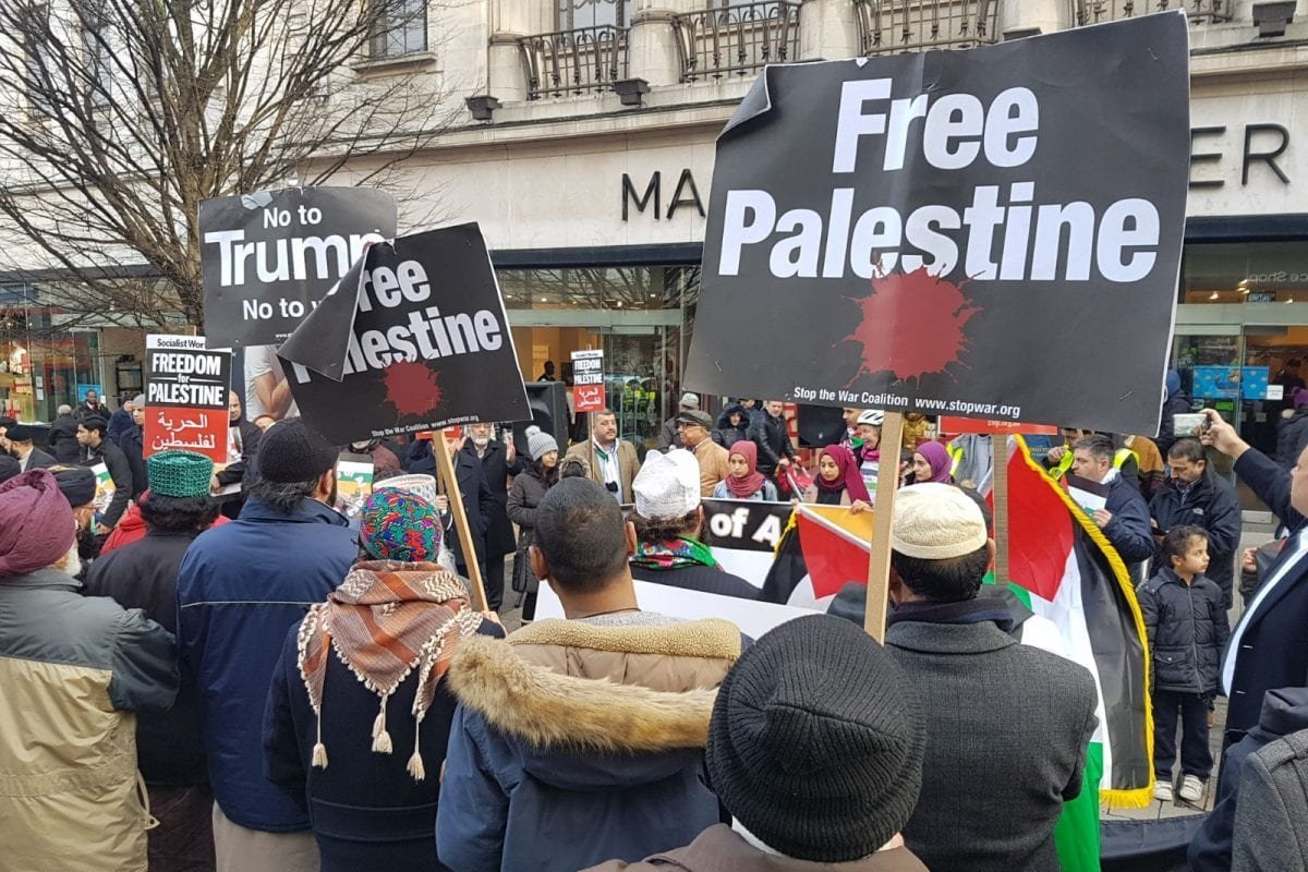 Protestors gather against US President Trump's Jerusalem announcement in Birmingham, UK on December 24, 2017