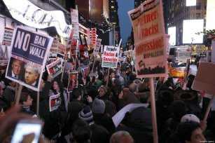People attend a demonstration against US President Donald Trump's recognition of Jerusalem as Israel's capital, at the Times Square in New York City, United States on 9 December 2017 [Atılgan Özdil / Anadolu Agency]