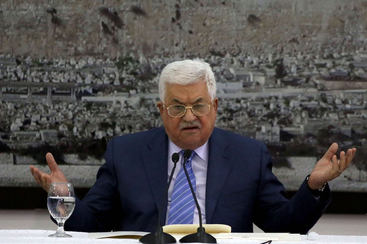 Palestinian President Mahmoud Abbas seen during his meeting with Palestinian senior leaders at the Presidency building in Ramallah, West Bank on December 18, 2017 [Issam Rimawi / Anadolu Agency]