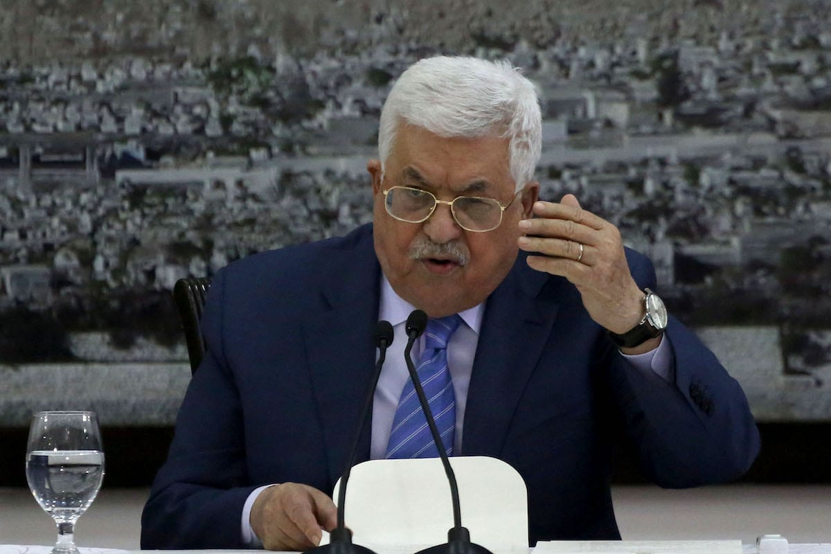 Palestinian President Mahmoud Abbas delivers during his meeting with Palestinian senior leaders at the Presidency building in Ramallah West Bank