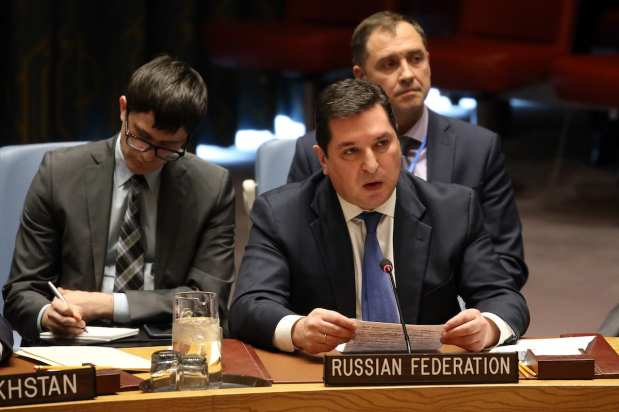 Russian Deputy Permanent Representative to the United Nations Vladimir Safronkov (C) speaks during the UN Security Council meeting on Trump's recognition of Jerusalem as the capital city of Israel at UN Headquarters in New York, United States on 18 December 2017 [Mohammed ElshamyAnadolu Agency]