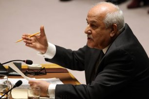 Permanent Observer for the State of Palestine to the United Nations Riyad Mansour addresses the UN Security Council New York, US on 18 December 2017 [Mohammed Elshamy/Anadolu Agency]
