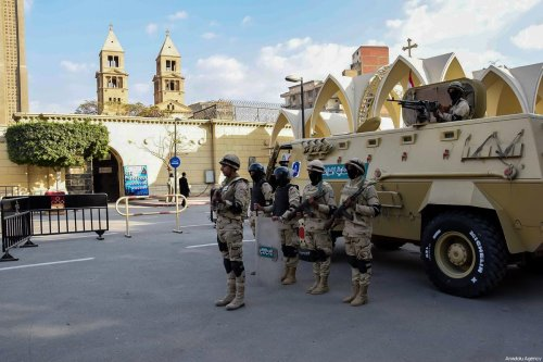 Members of Egyptian Armed Forces take security measures around the Sanctuaries of Christians as part of the Christmas celebrations in Cairo, Egypt on December 26, 2017 [Egyptian Armed Forces / Handout - Anadolu Agency]