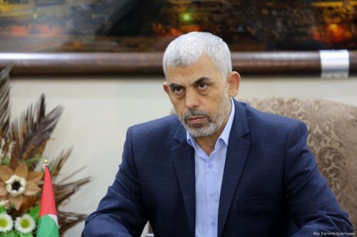 Hamas's leader in the Gaza Strip Yahya Al-Sinwar meets with leaders of Palestinian factions, in Gaza city on 18 October 2017 [Atia Darwish/Apaimages]