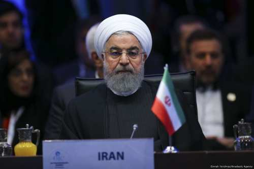 Iranian President Hassan Rouhani attends the extraordinary meeting of the Organisation of Islamic Cooperation (OIC) at the Lutfi Kirdar International Convention and Exhibition Center in Istanbul, Turkey on 13 December, 2017 [Emrah Yorulmaz/Anadolu Agency]