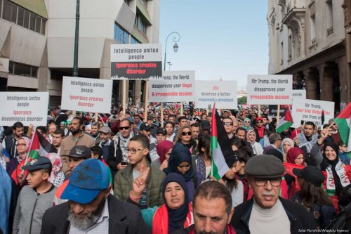 Moroccans hold Palestinians flags and banners during a pro Palestinian March in Rabat, Morocco [Jalal Morchidi/Anadolu Agency]